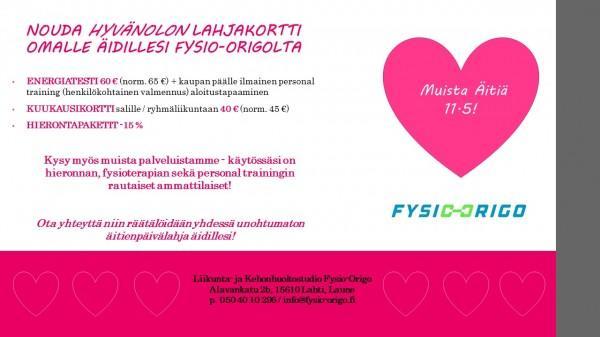 NOUDA HYVÄNOLON LAHJAKORTTI OMALLE ÄIDILLESI FYSIO-ORIGOLTA